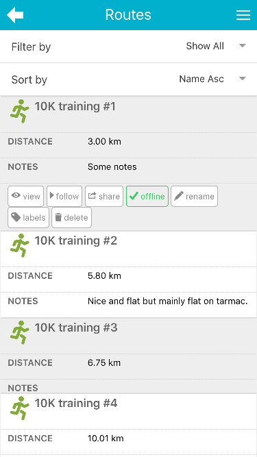 mapometer app - routes page screenshot